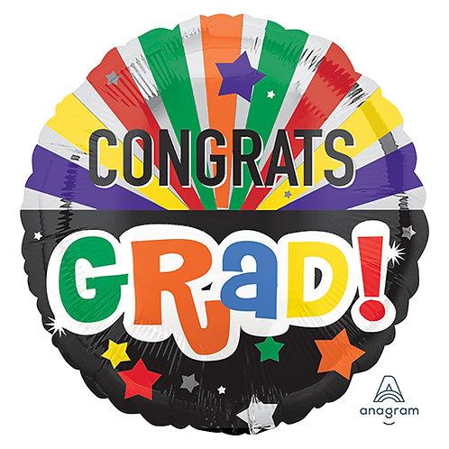 "18"" Congrats GRAD Rainbow Stripe Helium Balloon - e14"