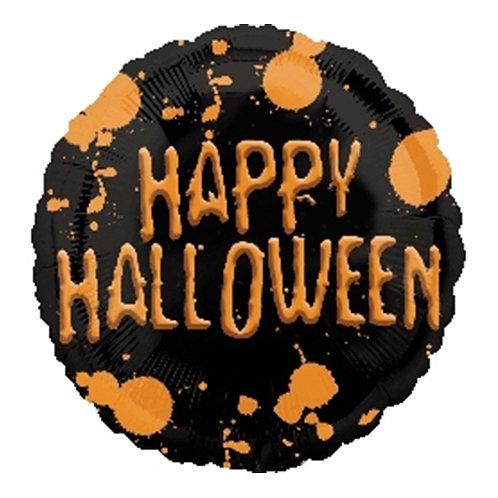 """18"""" Black & Orange Happy Halloween Helium Balloon - hw30"""
