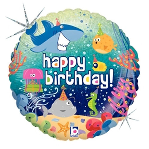 """18"""" HBD Ocean Animals With Party Hats Helium Balloon - z53"""