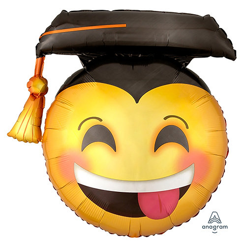"40"" Happy Emoji with Graduation Hat Helium Balloon - e16"