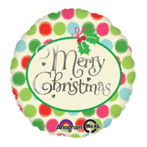 """18"""" Colourful Dots Pattern Merry Christmas Helium Balloon - x06"""