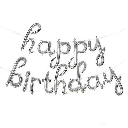 "14"" Silver Cursive HAPPY BIRTHDAY Letters Balloon - 14SCHBD"