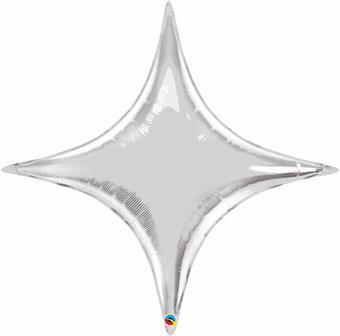 "40"" Four Points Star Helium Balloon - Silver"