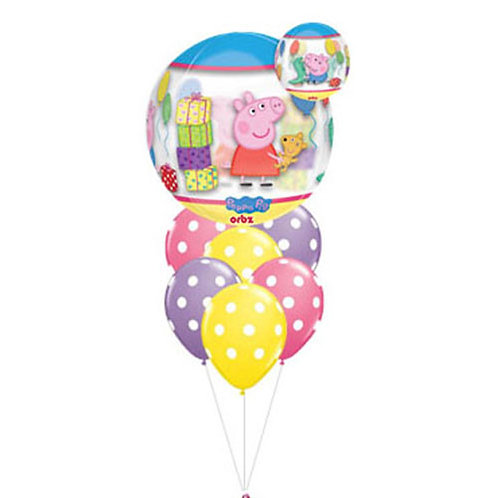 Sphere Shape Peppa Pig with 6 Latex Helium Balloon Bouquet - bq39