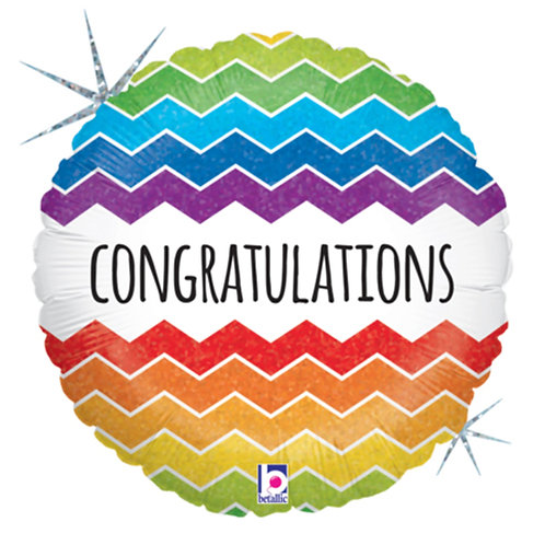 "18"" Congratulations Colourful Zigzag Pattern Helium Balloon - y102"