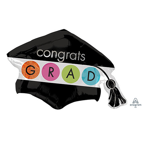 "40"" Congrats GRAD Graduation Hat Helium Balloon - e02"