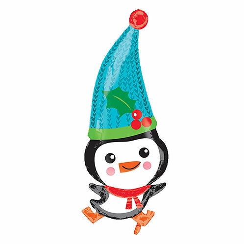 """30"""" Cute Penguin with a Big Christmas Hat Helium Balloon - x19"""