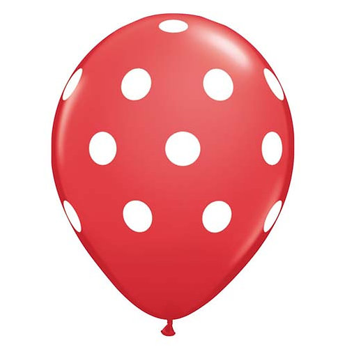 "11"" Red with White Polka Dots Pattern Latex Balloon"