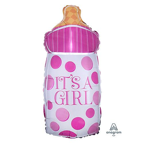 "18"" Baby Girl Milk Bottle Dots Pattern Helium Balloon - bb33"
