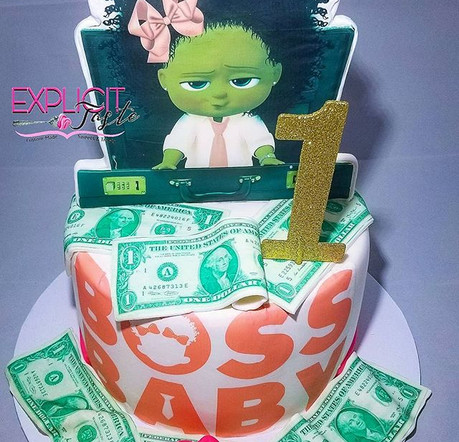 Boss Baby inspired cake! #edibleimages,