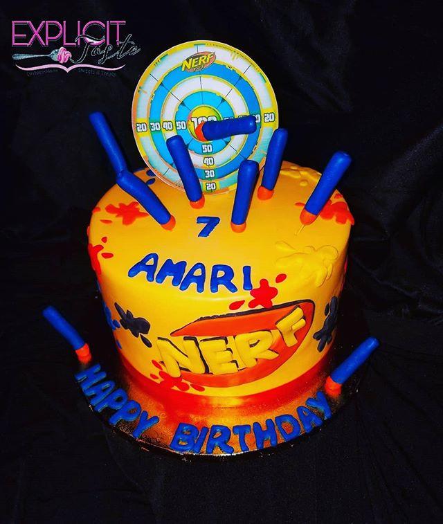 Nerf inspired cake! #edibleimage, #edibl