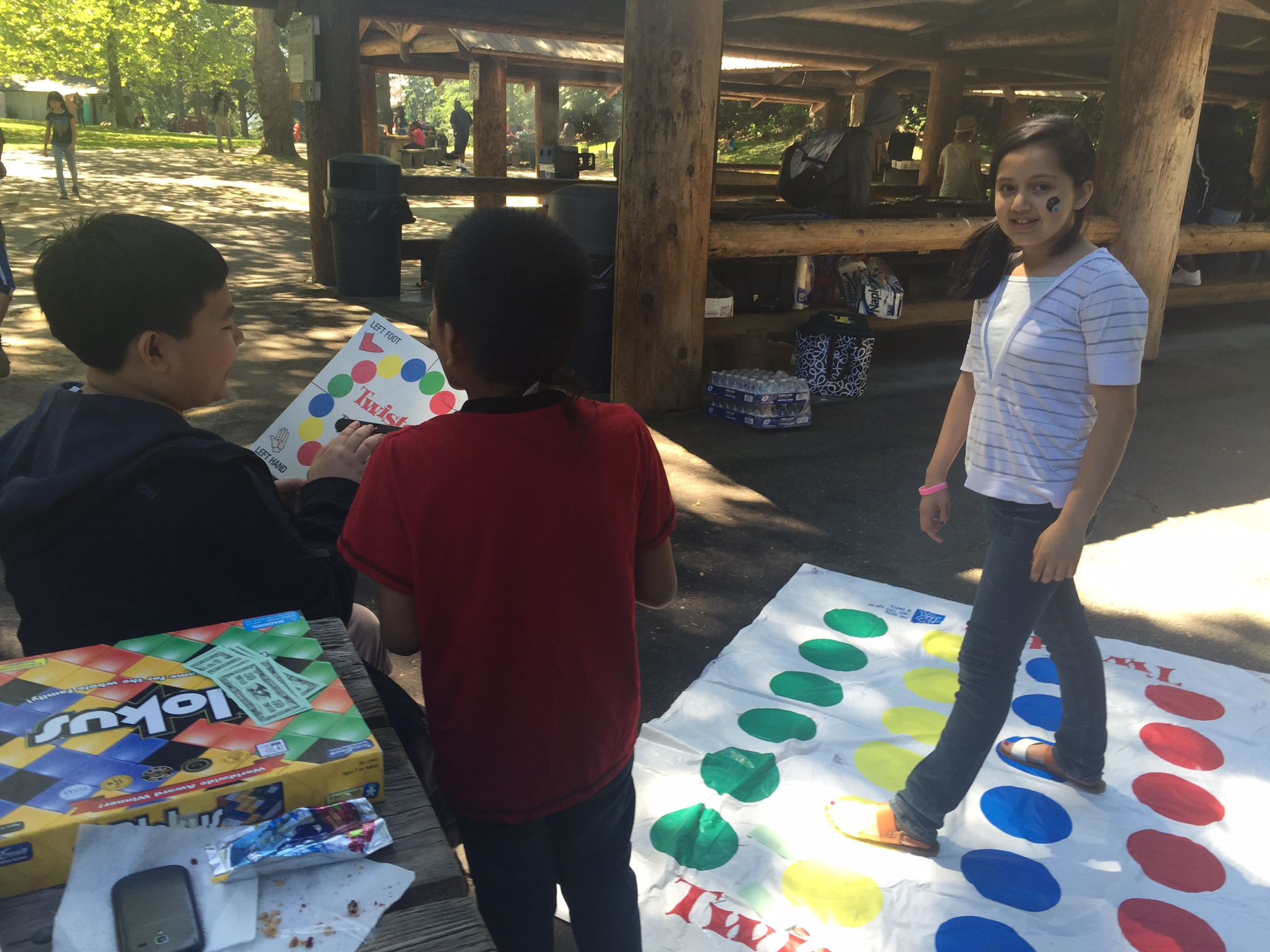 Aki 6th graders playing Twister