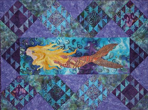 Swimming Upstream - Original Fabric Art