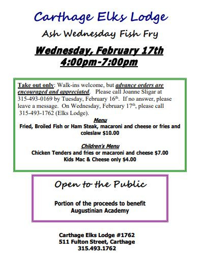 Ash Wednesday Fish Fry!
