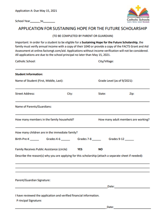 NEW! Tuition Assistance Scholarships for 2021-2022 School Year!
