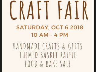 Fall Craft Fair - Saturday Oct 6th