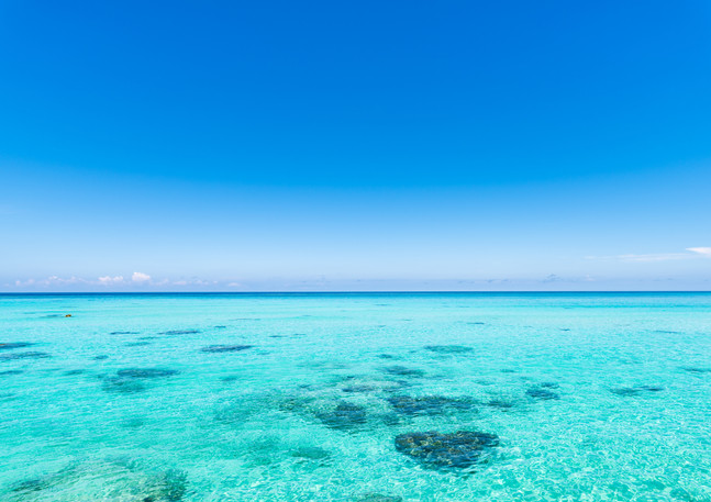 Crystal clear blue waters
