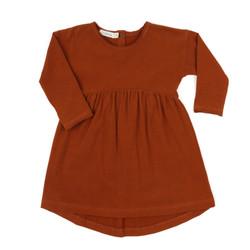 Drop-shoulder-dress-burnt-orange
