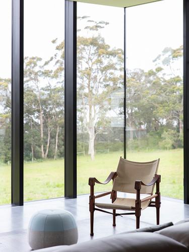 Corner detail of glass in living room