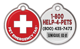 The Pet Emergency Tags offer you the peace of mind of a quality metal tag with your pet's unique ID number and a toll free number that connects to a trained professional who will help reunite you with your pet.