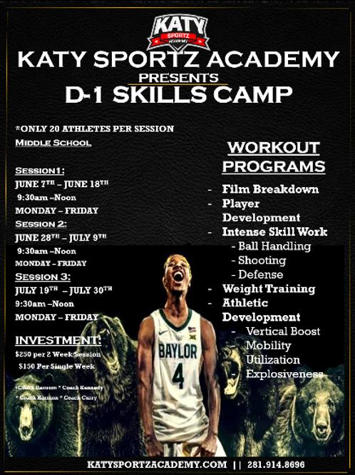 D1 Skills Camp (JR High 6th -8th Grade)-INVITE ONLY