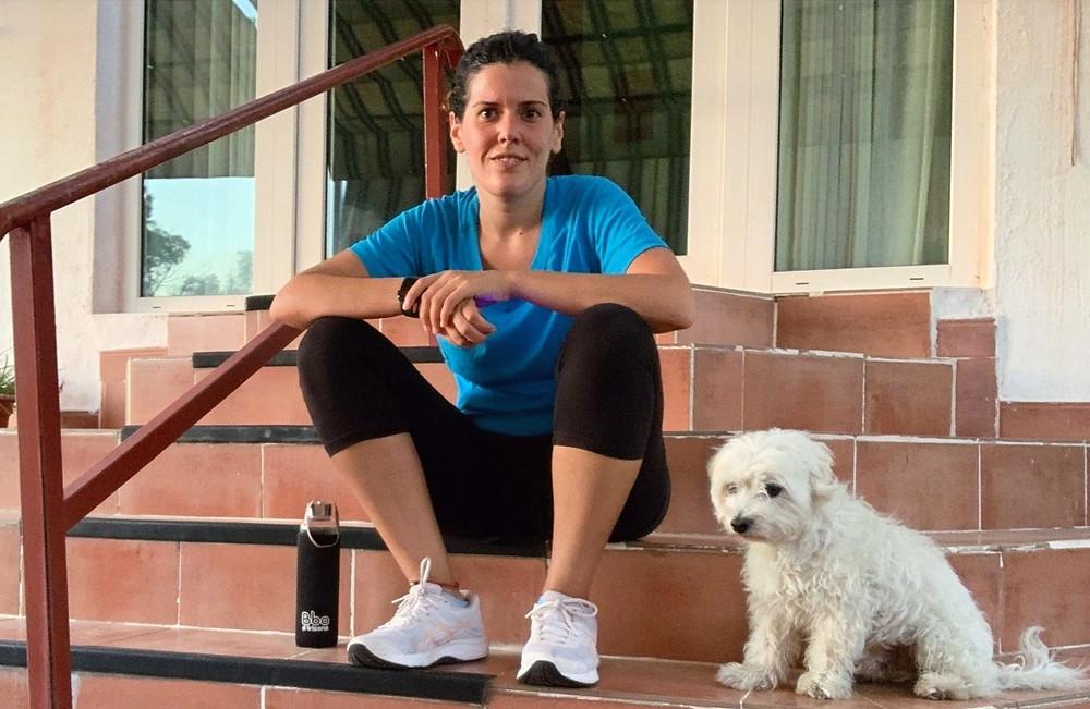 Tobi y yo después de un entrenamiento en la terraza de casa.