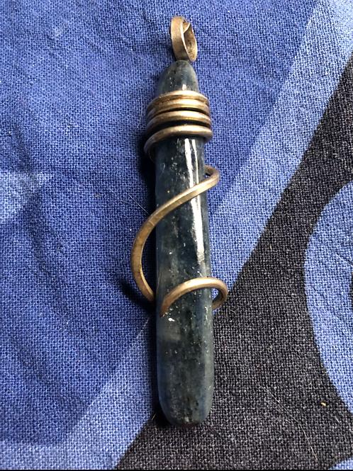Blue Kyanite Silver Wrapped Pendant