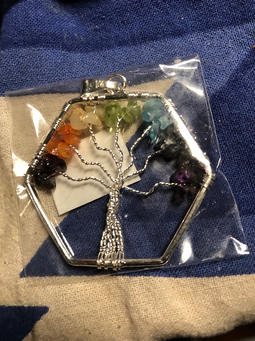 Tree of Life Chakra Hex Pendant