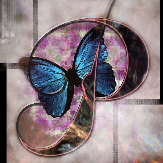 Butterfly inside letter P collage