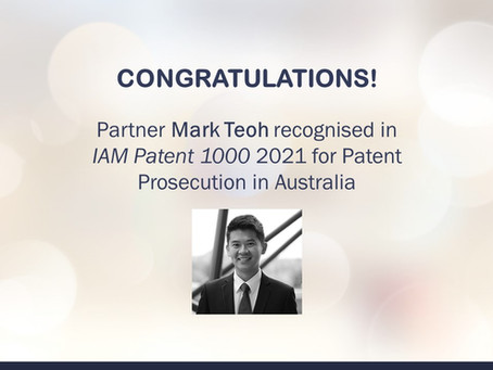 Partner Mark Teoh recognised as a leading individual for patent prosecution in IAM Patent 1000-2021