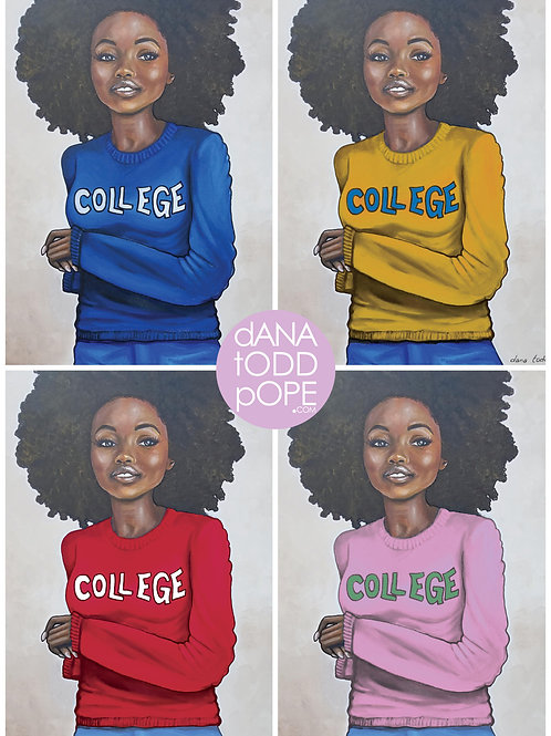 """COLLEGE"" 28"" x 28"" Limited Edition Print on canvas"