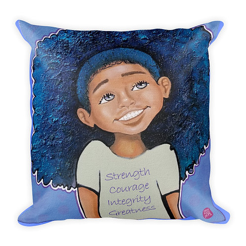 """Strength, Courage, Integrity, Greatness- Girl"" Pillow"