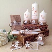 By Elida, wedding invitations, wedding candles, wedding bonbonniere, favors, decorated chocolate arrangement