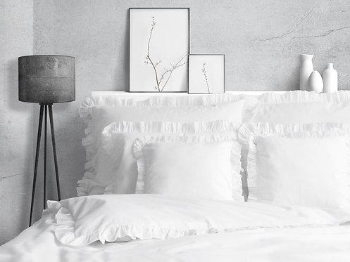 Biała poszewka z falbanką na kołdrę - bawełna adamaszek