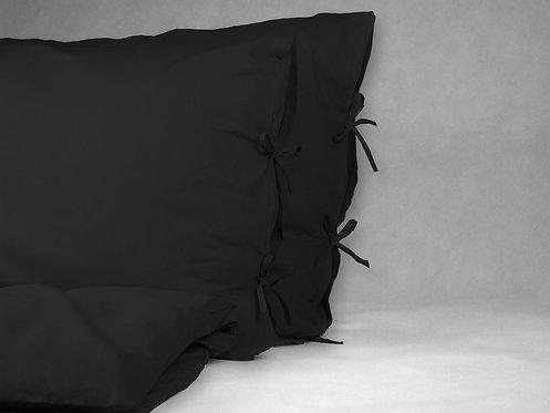 Czarna pościel klasyczna - Komplet kołdra + 1 poduszka - bawełna płaska