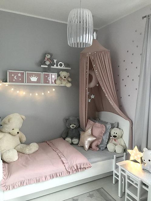 Różowa pościel z falbanką dla dzieci - Komplet kołdra + 1 poduszka
