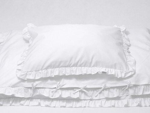 -30 %Biała pościel z falbanką dla dzieci - Komplet kołdra 90x120+ poduszka 40x60