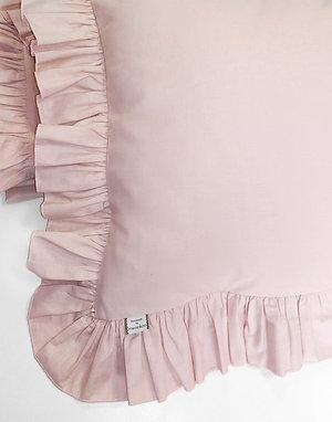 Różowa poszewka z falbanką na kołdrę - bawełna płaska