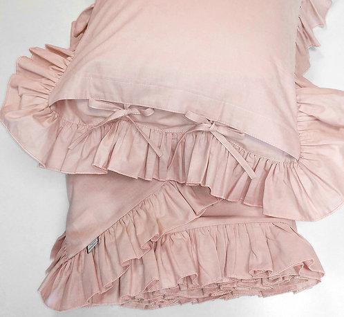 Różowa pościel z falbanką - Komplet kołdra + 2 poduszki - bawełna płaska