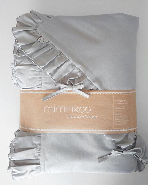 Szara pościel z falbanką dla dzieci - Komplet kołdra + 1 poduszka