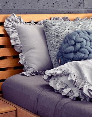 Szara pościel z falbanką - Komplet kołdra + 2 poduszki - bawełna płaska