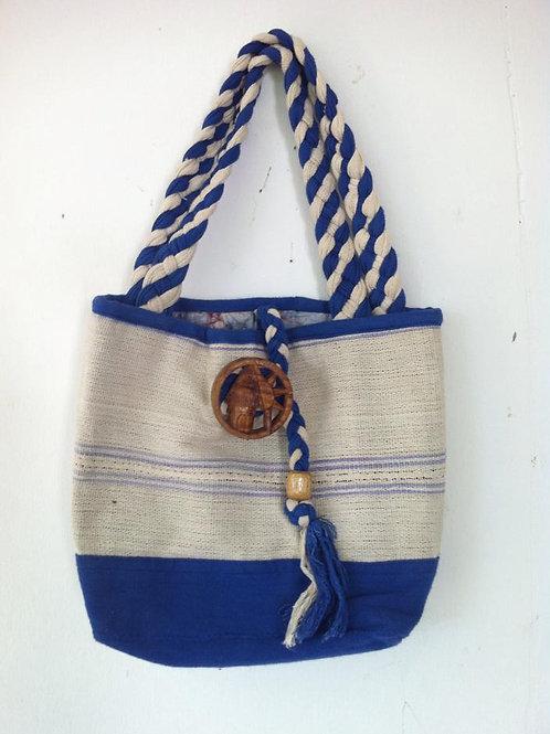 African handmade - DEM & PACO - tote bag - Blue & Cream