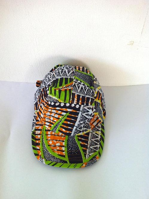 African Youth Apparel - peak headwear - Green, Orange & Black