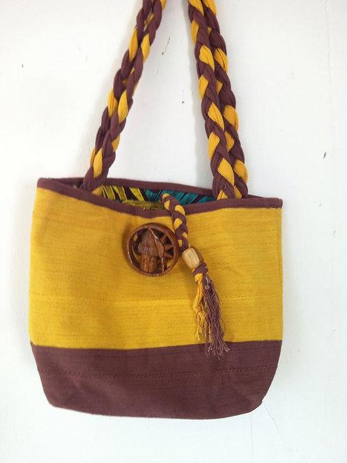 African handmade - DEM & PACO - tote bag - Brown & Yellow