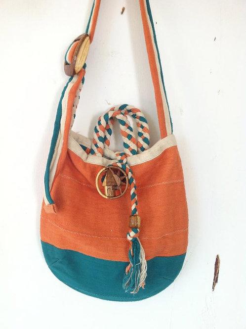 African handmade - DEM & PACO - tote shoulder bag - Green Orange & Cream