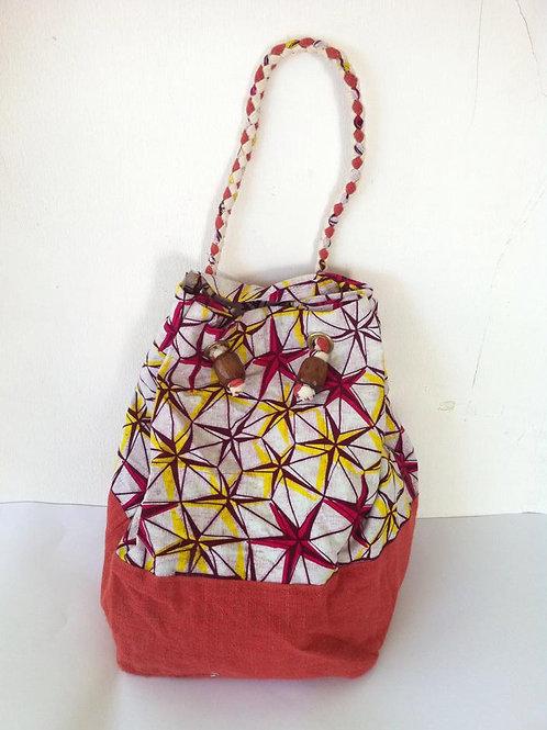 African Youth Apparel - tout shoulder bag - Red, White & Orange Star