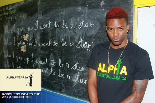 Alpha Boys School Tee - ALPHA WEAR JA TShirts - Black x Yellow x Green (size S)