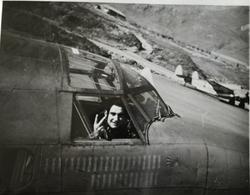Michelotti in PV-1 cockpit, Attu