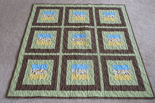 """Baby Quilt - Stacked Blocks (47"""" wide x 47"""" long)"""