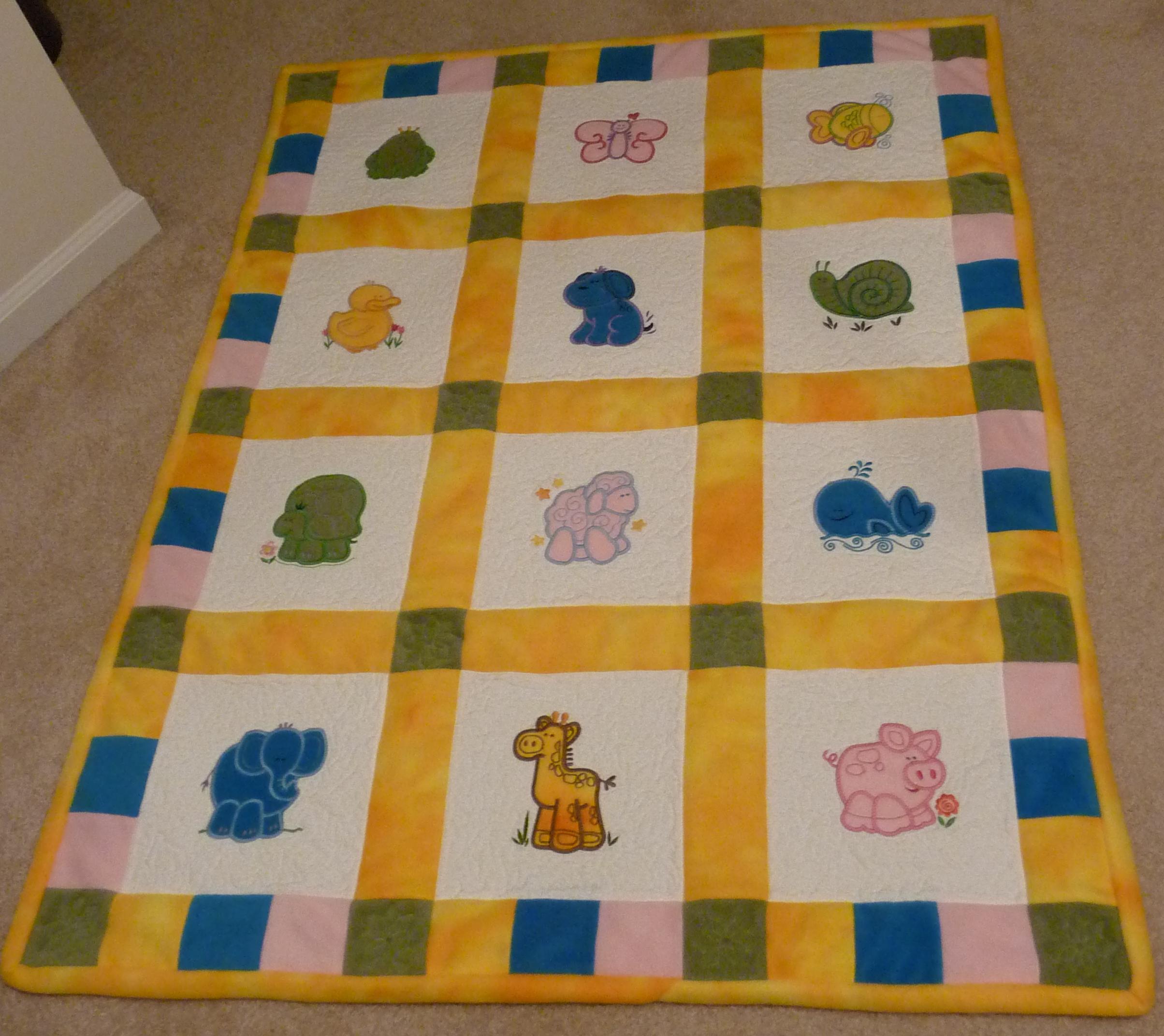 Animal Applique Baby Quilt 1
